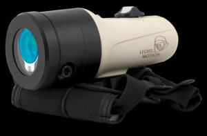 LightSpeed U15 diver light system utilizes LightSpeed optical communications to pass analog audio communications between handsets underwater.
